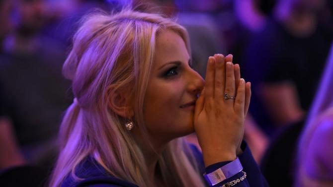 """A supporter from the """"No"""" Campaign watches at the Better Together Campaign headquarters in Glasgow, Scotland"""