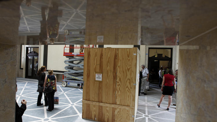 Works of art are boxed for protection in the Rodin Museum on Wednesday, May 16, 2012, in Philadelphia. After a three-year renovation, the museum is scheduled to reopen to the public on July 13. (AP Photo/Alex Brandon)