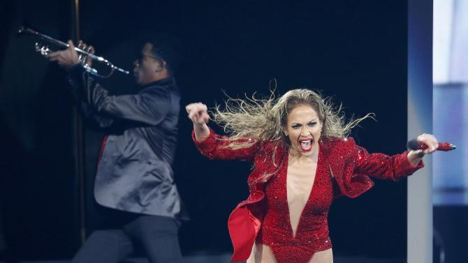 """Jennifer Lopez performs """"Booty"""" during the 42nd American Music Awards in Los Angeles"""