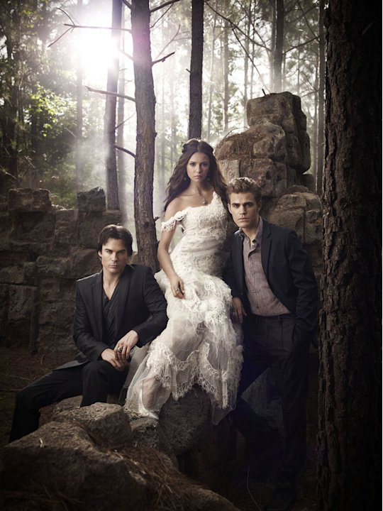 "Ian Somerhalder as Damon, Nina Dobrev as Elena, and Paul Wesley as Stefan in ""Vampire Diaries."""