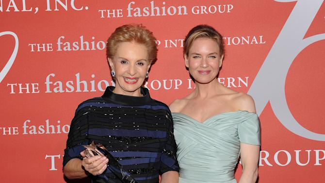 """Superstar Award"" honoree, designer Carolina Herrera, left, poses with actress Renee Zellweger at the 29th Annual ""Night Of Stars"" presented by The Fashion Group International at Cipriani Wall Street on Thursday Oct. 25, 2012 in New York. (Photo by Evan Agostini/Invision/AP)"