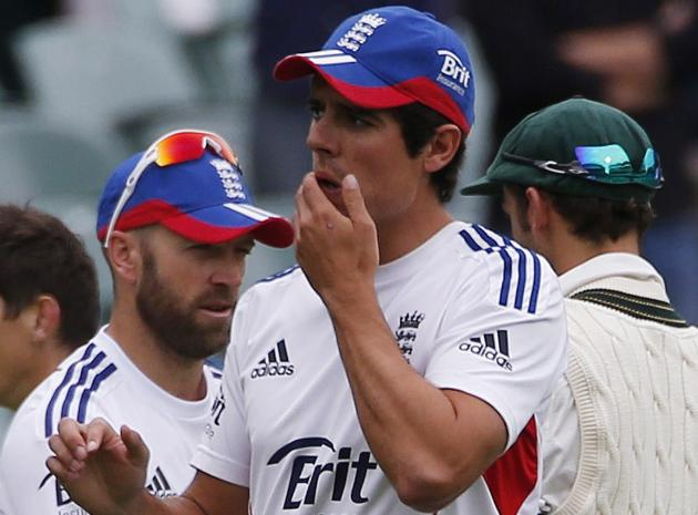 England's captain Cook reacts after losing the second Ashes cricket test against Australia at the Adelaide Oval