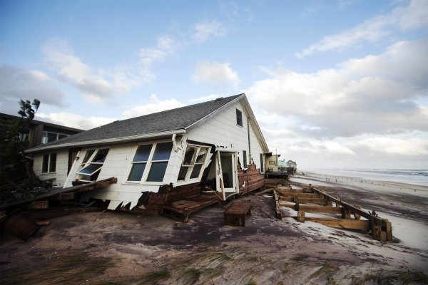 Damaged house is seen after Hurricane Sandy passed through in the greatly affected community of Atlantique on Fire Island, New York
