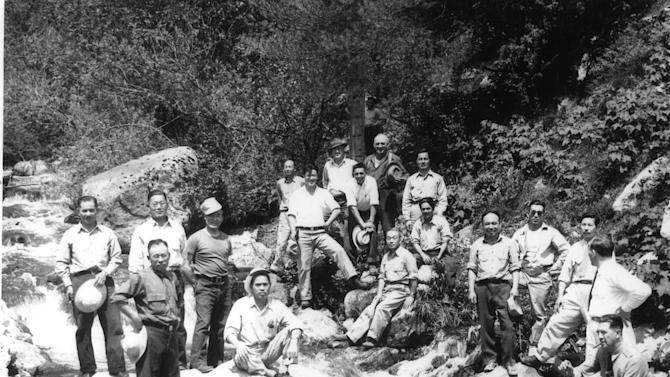 This image provided by the University of Idaho shows Japanese internees at the Kooskia Internment Camp during World War II. This little-known internment camp where more than 250 people of Japanese ancestry were held during World War II is being explored for the first time by archaeologists. The Kooskia Internment Camp was located in the Rocky Mountains of north central Idaho, far from population centers. Between 1943 and 1945, some 265 male internees lived at the camp, and helped build scenic U.S. Highway 12 through the rugged mountains. (AP Photo/University of Idaho)