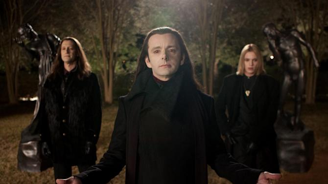 """This film image released by Summit Entertainment shows Christopher Heyerdahl, left, Michael Sheen, center, and Jamie Campbell Bower in a scene from """"The Twilight Saga: Breaking Dawn Part 2."""" (AP Photo/Summit Entertainment, Andrew Cooper)  Ph: Andrew Cooper, SMPSP © 2011 Summit Entertainment, LLC.  All rights reserved."""