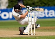 New Zealand&#39;s Martin Guptill is pictured in March 2012. New Zealand were up against it at stumps on the fourth day of their second Test against West Indies at North Sound after two breakthroughs for the hosts left them at 199 for 3, just 28 runs ahead