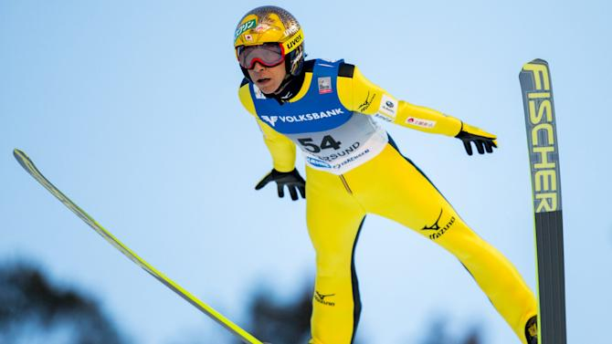 Noriaki Kasai of Japan soars in the air during the FIS Ski Jumping World Cup Flying Hill competition in Vikersund