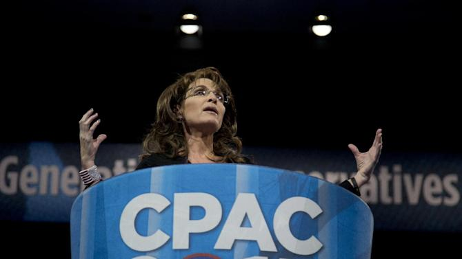 Former Alaska Gov. Sarah Palin speaks at the 40th annual Conservative Political Action Conference in National Harbor, Md., Saturday, March 16, 2013. (AP Photo/Carolyn Kaster)