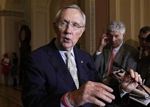 Senate Majority Leader Harry Reid speaks to the media about healthcare in Washington