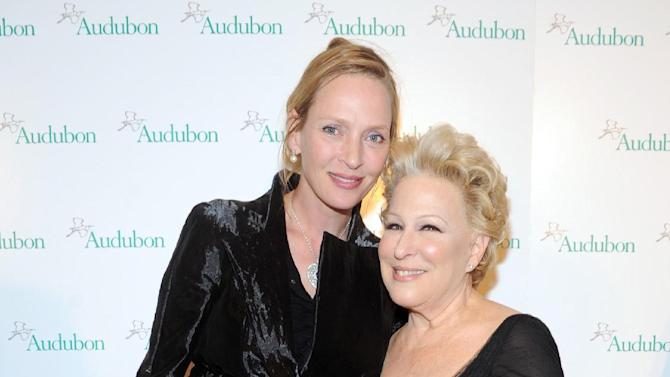 IMAGE DISTRIBUTED FOR THE NATIONAL AUDUBON SOCIETY - Uma Thurman, left, and Bette Midler pose together at The National Audubon Society's first gala to jointly award the Audubon Medal and the inaugural Dan W. Lufkin Prize for Environmental Leadership, Thursday, Jan. 17, 2013, in New York.  (Photo by Diane Bondareff/Invision for The National Audubon Society/AP Images)