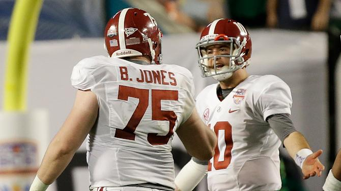 Alabama's AJ McCarron (10) and Barrett Jones argue during the second half of the BCS National Championship college football game against Notre Dame Monday, Jan. 7, 2013, in Miami. (AP Photo/David J. Phillip)