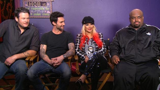 'The Voice' coaches Christina Aguilera, Cee Lo Green, Adam Levine & Blake Shelton chat with Access Hollywood on November 8, 2012 -- Access Hollywood