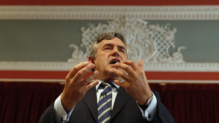 "Former British Prime Minister Gordon Brown speaks at a ""Better Together"" rally in Dundee, Scotland"