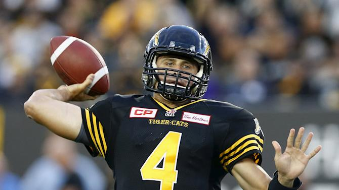 Tiger-Cats quarterback Collaros throws the ball against the Alouettes during their CFL football game in Hamilton