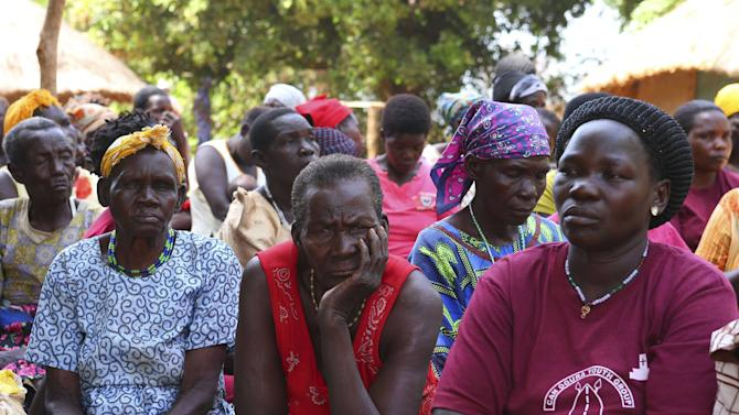 Women follow an address by ICC prosecutor Bensouda in Lukodi village in Gulu district northern Uganda