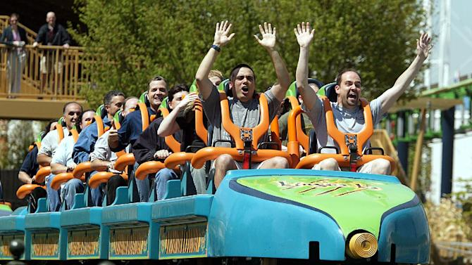 FILE - In this May 19, 2005, file photograph, people cheer at the end of a ride on Six Flags Great Adventure's roller coaster, Kingda Ka, in Jackson, N.J. A boy is recovering after he was hit in the face by a bird Thursday, July 26, 2012, while riding the roller coaster at Six Flags Great Adventure in New Jersey. (AP Photo/Tim Larsen, File)
