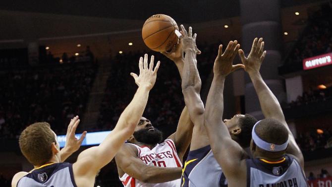 Harden leads Rockets past Grizzlies 100-92