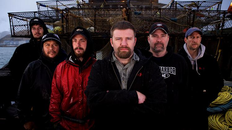 "Seabrooke crew (from L to R) Deckhand Russell Fergus, Deckhand Mac White, Deckhand/Greenhorn Chris 'Whipper' Welch, Captain Scott 'Junior' Campbell, Jr., Relief Captain/Engineer Bob Perkey and Deckhand Derrick Haist star in ""Deadliest Catch."""