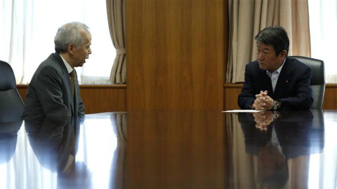 TEPCO President Hirose meets with Japan's Economy, Trade and Industry Minister Motegi to talk about the safety approval of TEPCO's world's largest Kashiwazaki Kariwa nuclear plant in Tokyo