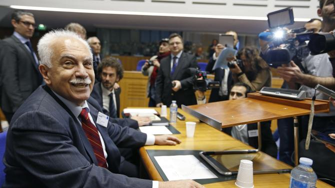 Perincek, Chairman of the Turkish Workers' Party arrives to attend a hearing at the European court of Human Rights in Strasbourg