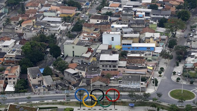 An aerial view of the Olympic rings placed at the Madureira Park ahead of the Rio 2016 Olympic Games in Rio de Janeiro