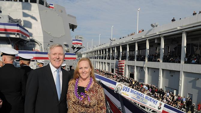 In this image provided by the U.S. Navy, Secretary of the Navy, the Honorable Ray Mabus, stands with the Ship's Sponsor, Maureen Murphy, during the commissioning ceremony for guided-missile destroyer USS Michael Murphy Saturday Oct. 6, 2012. Mutphy's son, Lt. Michael P. Murphy was posthumously awarded the Medal of Honor for his actions in combat as leader of a four-man SEAL reconnaissance team in Afghanistan. Murphy was the first person to be awarded the Medal of Honor for actions in Afghanistan and the first member of the U.S. Navy to receive the award since the Vietnam War. (AP Photo/US Navy, Chief Mass Communication Specialist Sam Shavers)