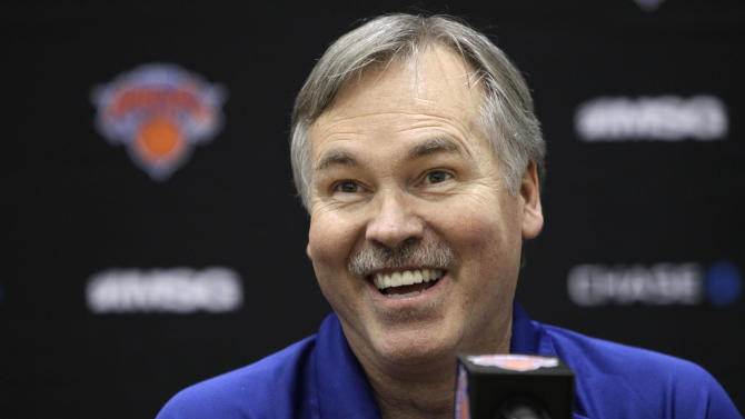 New York Knicks head coach Mike D'Antoni appears during a news conference at an NBA basketball media day in Greenburgh, N.Y., on Monday, Dec. 12, 2011. (AP Photo/Kathy Willens)