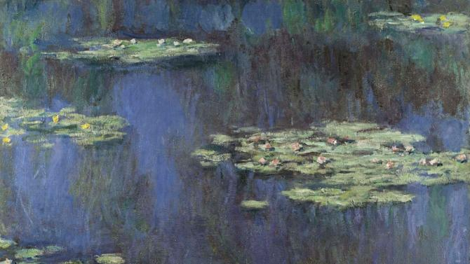 "This undated photo provided by Sotheby's shows a 1905 painting from Claude Monet's Water Lillies series, to be sold by Sotheby's on May 5, 2015, during the auction house's evening sale in New York. Sotheby's is offering six paintings spanning five decades of Monet's career for an estimated $78 million. The star is this 1905 version, ""Water Lilies,"" of the artist's beloved pond and gardens at his home in Giverny, France, that is estimated to fetch $30 million to $45 million. (Sotheby's via AP)"