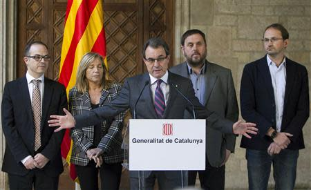 Catalunya's President Mas speaks during a news conference announcing an independence referendum at Palau de la Generalitat in Barcelona
