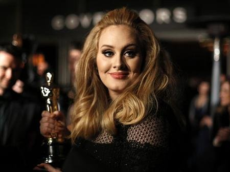 "Singer Adele, winner of the Oscar for best original song for ""Skyfall,"" is interviewed at the Governors Ball for the 85th Academy Awards in Hollywood, California February 24, 2013. REUTERS/Lucas Jackson"