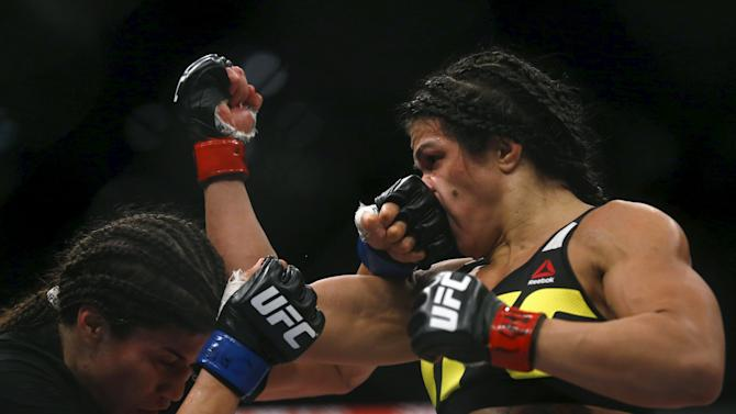 Gadelha of Brazil fights with Aguilar of Mexico during their UFC match in Rio de Janeiro