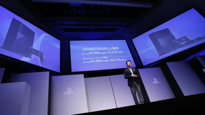 Sony Computer Entertainment Japan Asia President Kawano speaks during a news conference in Tokyo