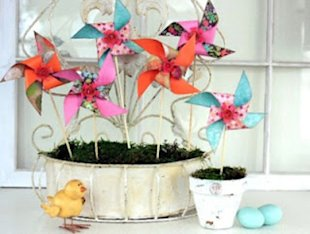 Paper Pinwheels in a Pot