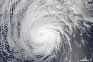 Hurricane Felicia, seen as a Category 1 hurricane by NASA's Terra satellite on Aug. 8, 2009. The storm had weakened from its peak strength as a Category 4 storm.