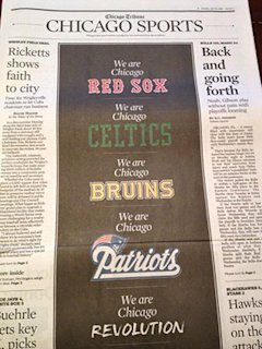 Chicago Tribune's sports section (Photo via @BaxterHolmes)