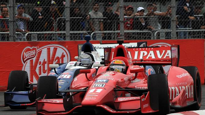 Brazil's Tony Kanaan (R) of KV Racing,  powers his car followed by US Marco Andretti, of Andretti Autosport, during the Sao Paulo Indy 300 race, at the Sambodromo racertrack in Sao Paulo, Brazil on April 29, 2012. AFP PHOTO/Nelson AlmeidaNELSON ALMEIDA/AFP/GettyImages