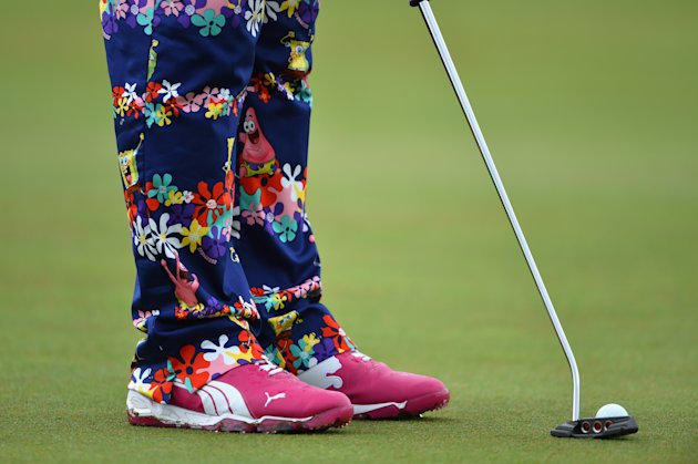 HOYLAKE, ENGLAND - JULY 16: Detail of John Daly of the United States' outfit during a practice round prior to the start of The 143rd Open Championship...