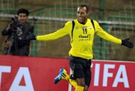 Sepahan's Bruno Cesar Correa celebrates after scoring a goalduring an AFC Champions League match on March 7. Sepahan will take on close domestic rivals Esteghlal as the one-off round of 16, spread over four nights, gets under way on Tuesday