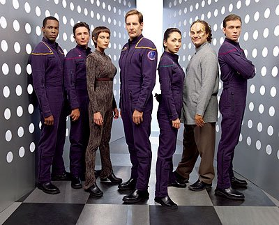 Anthony Montgomery as Ensign Travis Mayweather, Dominic Keating as Lt. Malcolm Reed, Jolene Blalock as Subcommander T'Pol, Scott Bakula as Captain Jonathan Archer, Linda Park as Ensign Hoshi Sato, Joh