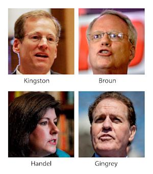 FILE - These various file photos show, top row, from left, Rep. Jack Kingston, R-Ga., and Rep. Paul Broun, R-Ga., and bottom row, from left, former Georgia Secretary of State Karen Handel and Rep. Phil Gingrey, R-Ga. The four Georgia Republicans who want to succeed retiring Sen. Saxby Chambliss all describe themselves as conservatives who oppose abortion. Two are congressmen who recently voted in favor of a House bill to outlaw nearly all abortions beyond the 20th week after conception. Another candidate, a former secretary of state with her own national profile in the abortion debate, expressed support for the bill. Meanwhile, Broun, an obstetrician, voted against the measure, saying it didn't go far enough. That vote put him alongside abortion-rights advocates like former House Speaker Nancy Pelosi, yet it garnered a de facto endorsement from a leading anti-abortion group in Georgia. (AP Photo/Files)