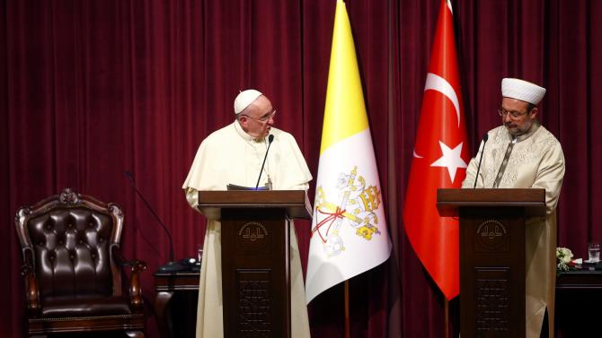 Pope Francis addresses during a meeting with Gormez, head of Turkey's Religious Affairs Directorate in Ankara