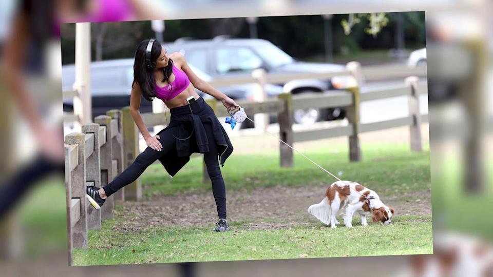 Glee's Naya Rivera Rocks a Sports Bra and Yoga Pants in the Park