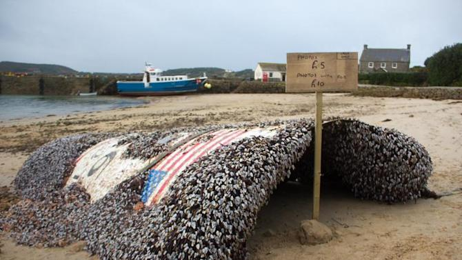 A piece of SpaceX's Falcon 9 rocket is sitting on a beach in England