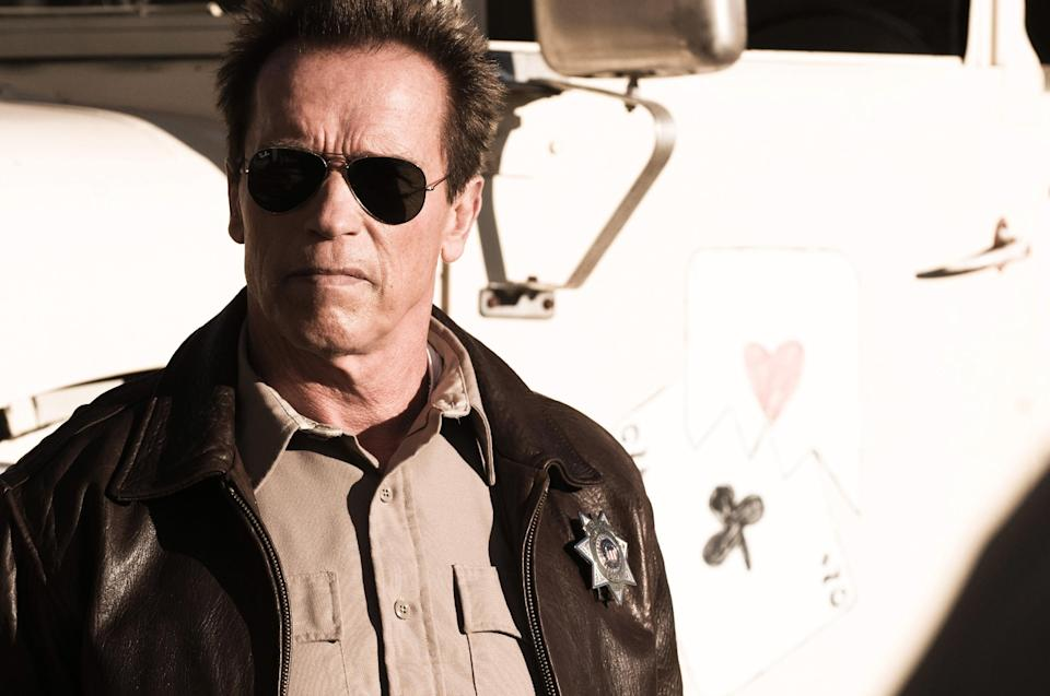 "This undated publicity photo released by Lionsgate shows Arnold Schwarzenegger as Ray Owens, in a scene from the film, ""The Last Stand."" (AP Photo/Lionsgate, Merrick Morton)"