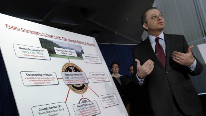 U.S. Attorney Preet Bharara uses a chart during a news conference, in New York,  Tuesday, April 2, 2013, to explain that a New York state lawmaker was arrested Tuesday along with several other politicians, in an alleged plot to bribe his way into the race for mayor of New York City. Democratic state Sen. Malcolm Smith tried to pay off some of New York City's Republican party bosses to get himself on the ballot as a GOP candidate, federal prosecutors said. (AP Photo/Richard Drew)