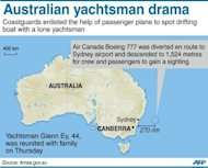 Graphic showing the area east of Sydney where a lone sailor was rescued after coastguards enlisted the help of an Air Canada Boeing 777 passenger plane to spot his stricken yacht