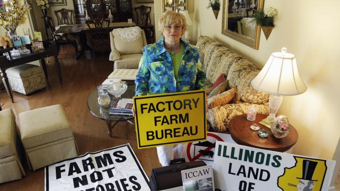 In this July, 28, 2012 photo, Karen Hudson, co-founder of Illinois Citizens for Clean Air and Water, poses with signs in Elmwood, Ill., opposing huge corporate-funded farms that are springing up across country.  Hudson says many rural communities have been divided over this issue. She says as these livestock farms have grown to house thousands and even tens of thousands of animals — there are very real concerns about air and water pollution. She is calling for compromise and more regulation.Four years after the U.S. Government Accountability Office raised concerns and 40 years after the Clean Water Act gave the EPA the authority to protect the nation's waterways, the agency still doesn't know the location of many livestock farms, let alone how much manure they generate or how the waste is handled, because most of that information is kept by various state and or local agencies _ or not collected at all. (AP Photo/M. Spencer Green)
