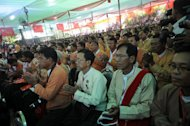 National League for Democracy party delegates gather at the Royal Rose Hall in Yangon on March 9, 2013. The party is expected to win Myanmar elections in 2015, if they are free and fair