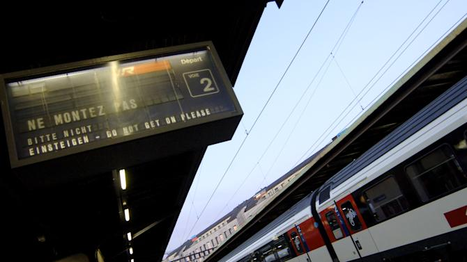 File picture for illustration shows a train sitting at Geneva station on June 22, 2005