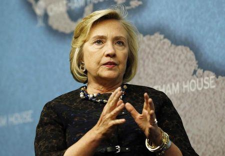 Former U.S. Secretary of State Clinton speaks at Chatham House in central London